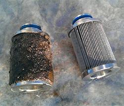 contaminated fuel filter