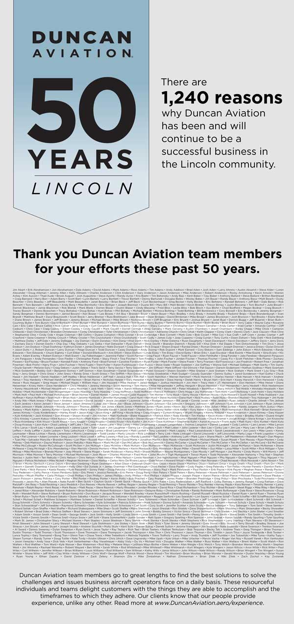 Duncan Aviation Celebrates 50 years in Lincoln, Nebraska